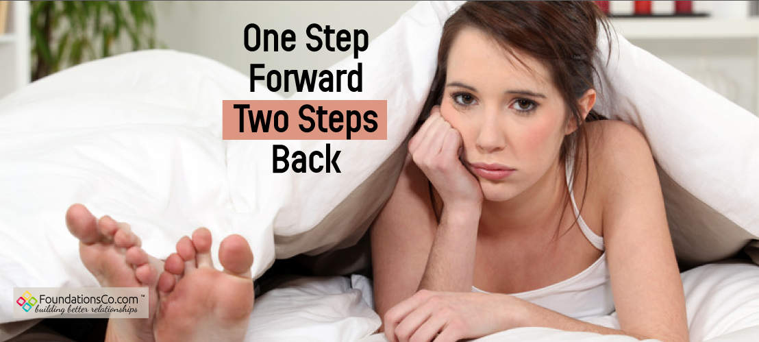 Couple going to bed mad. One step forward, two steps back
